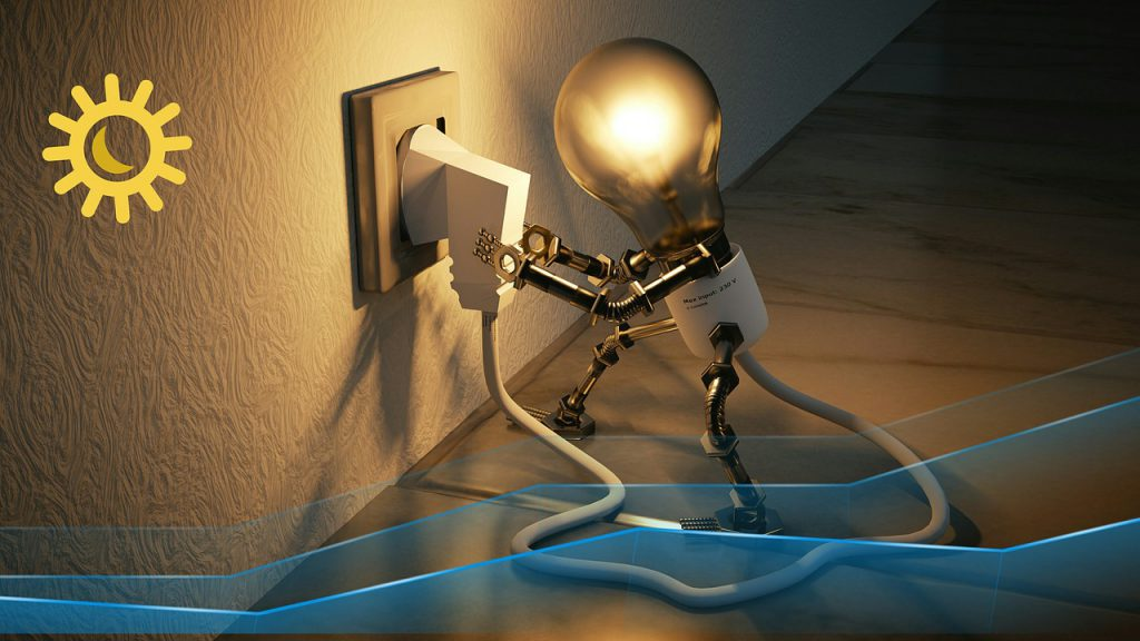 shining light bulb plugging itself into the wall outlet