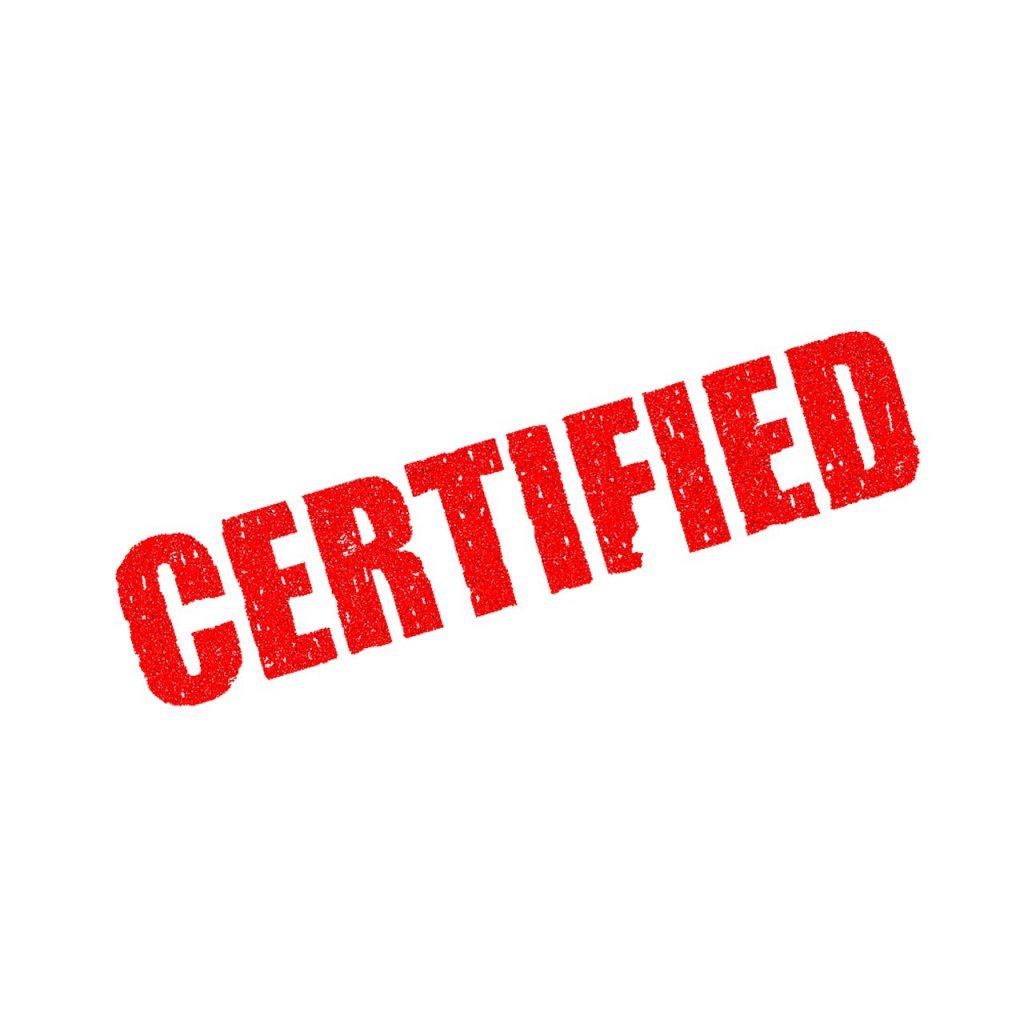 certified written in red