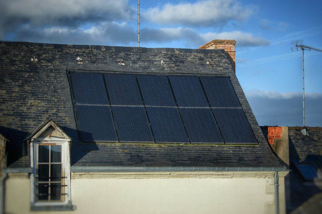 solar panels on one side of the roof