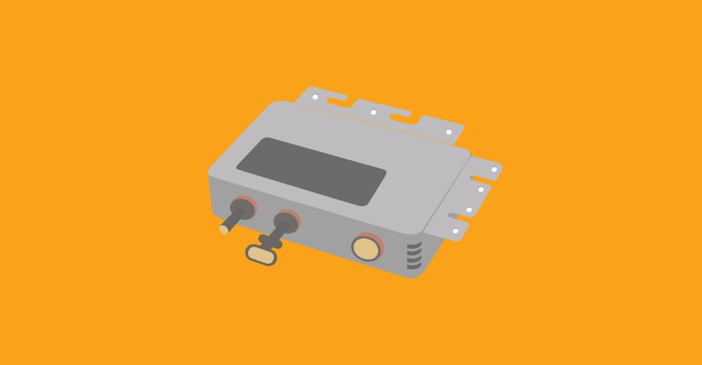 microinverter in gray with an orange background