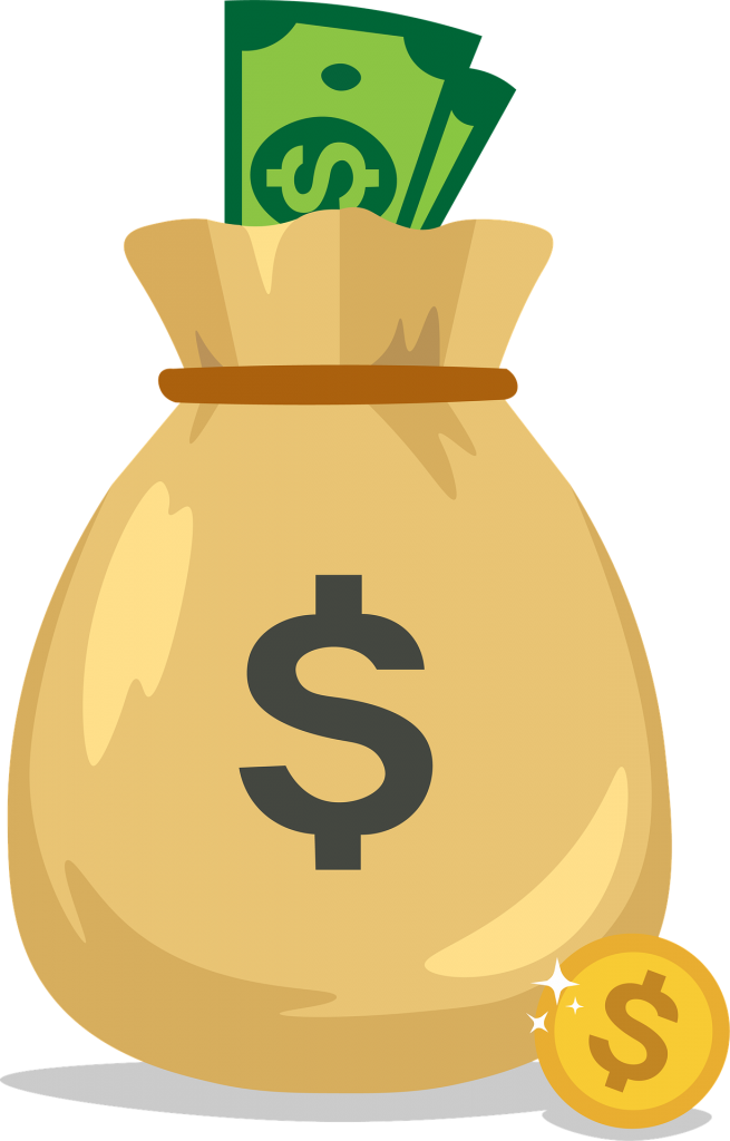brown bag with money symbol on it with money bills sticking out of it