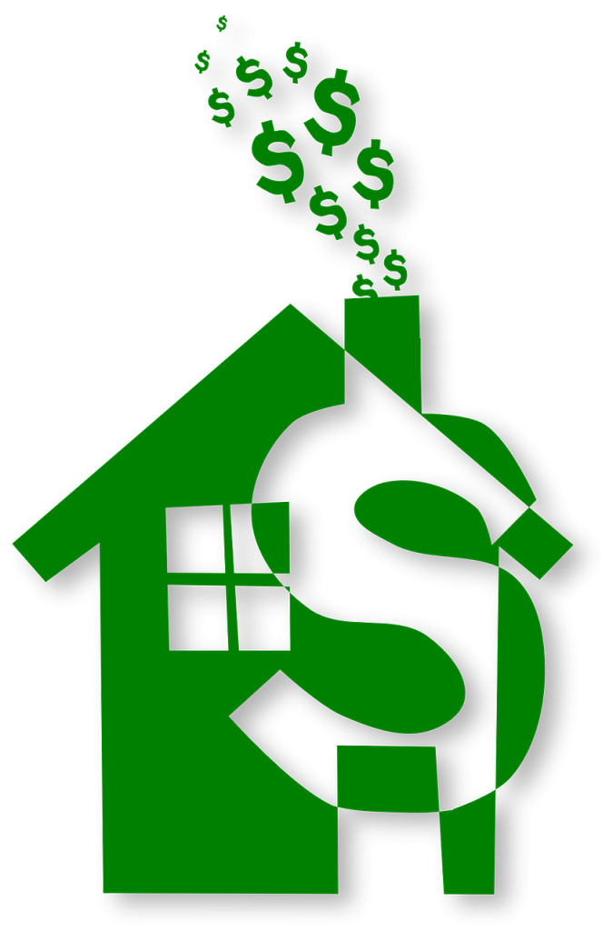 picture of a green house with a money sign as part of it and the chimney has money signs coming out of it