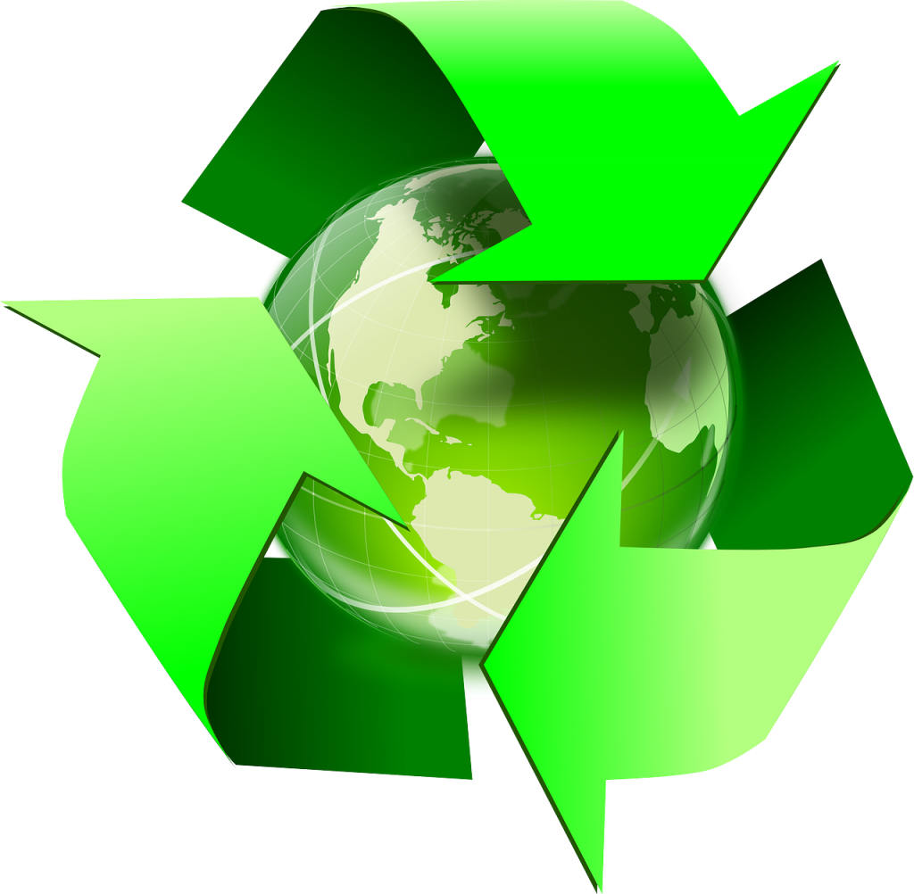 green recycling arrows over the earth.