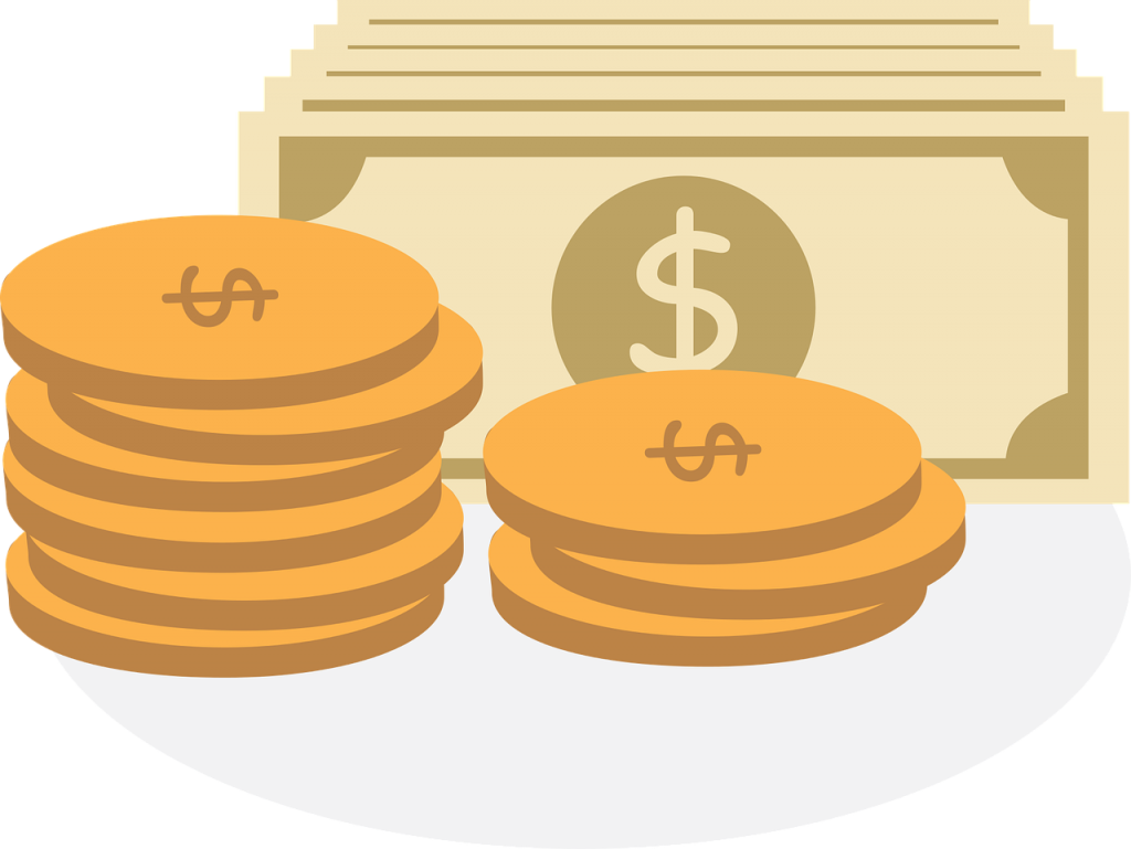 illustration of money bills and gold coins