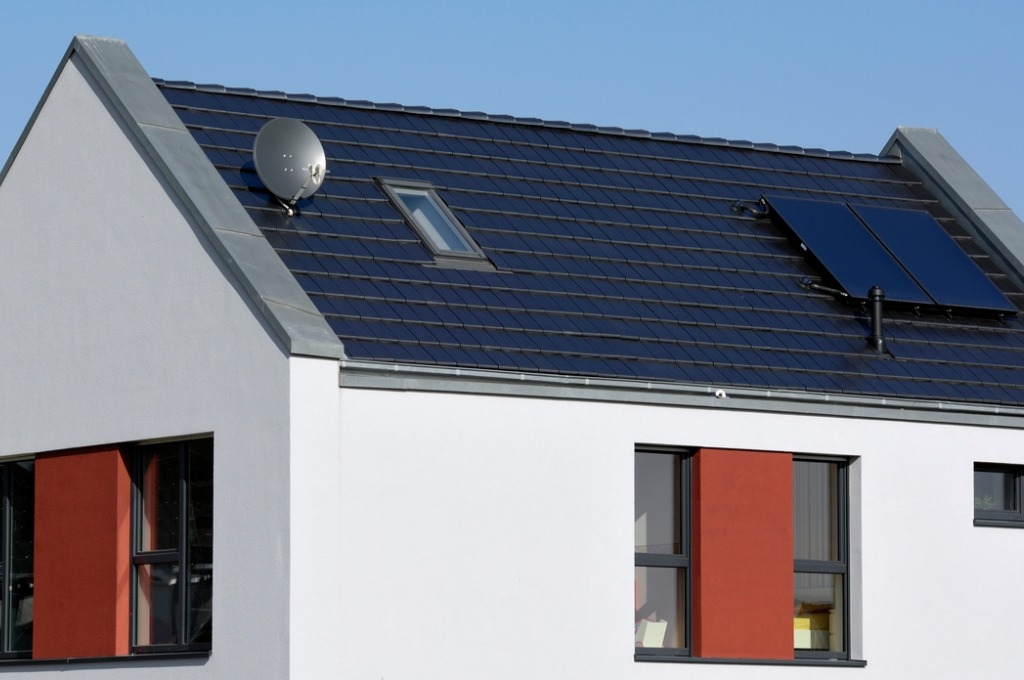 solar shingles on the roof of a home