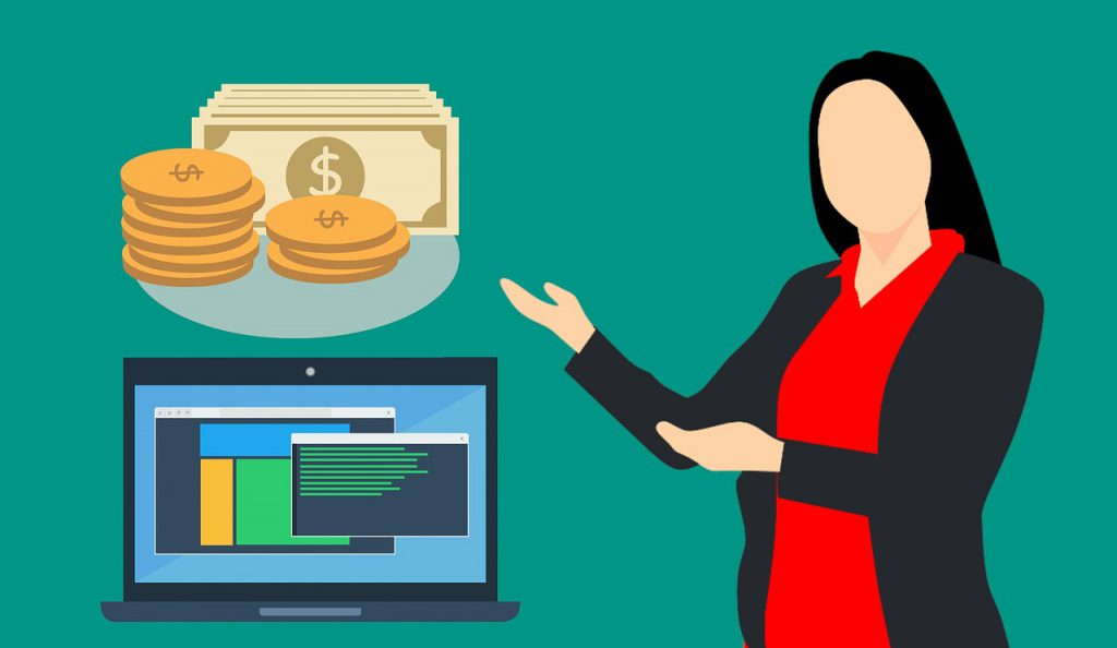 illustration of a woman with her hands pointing in the direction of money and a laptop with data