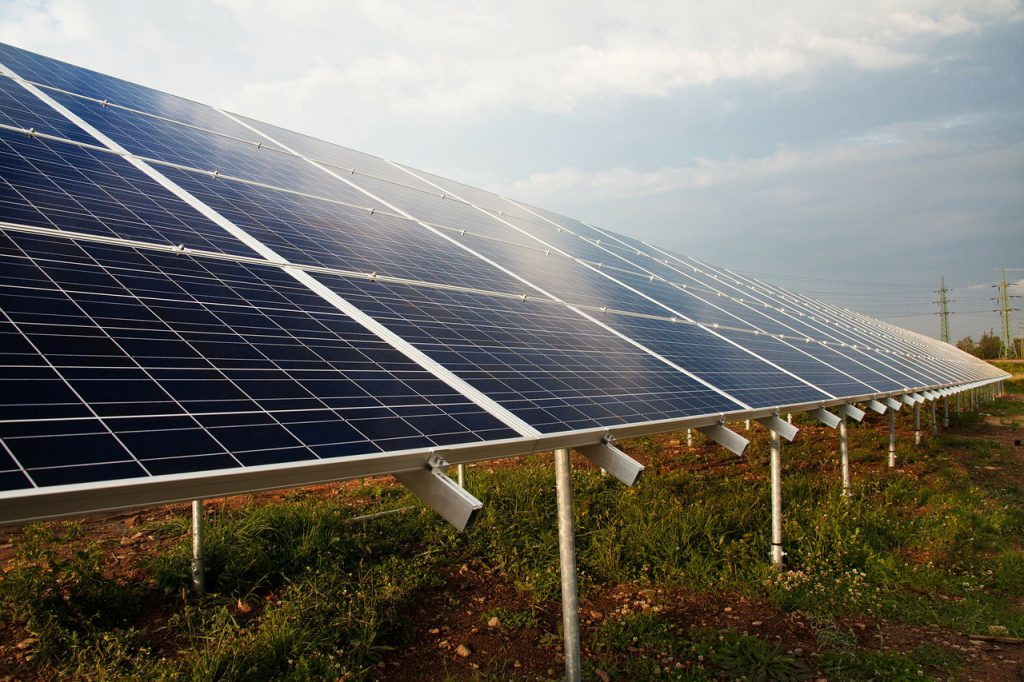solar panels that are mounted to the ground