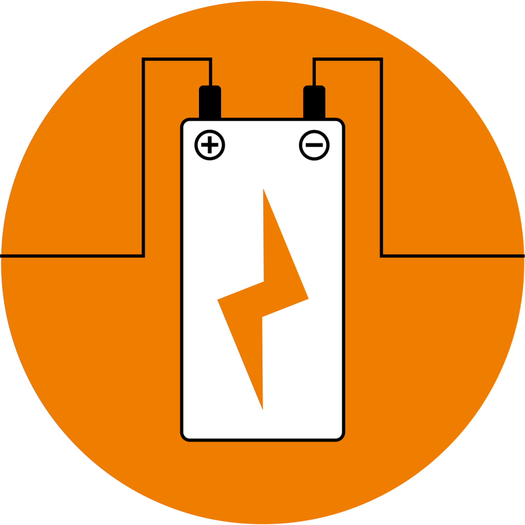 battery hooked up with a lightning bolt in the middle