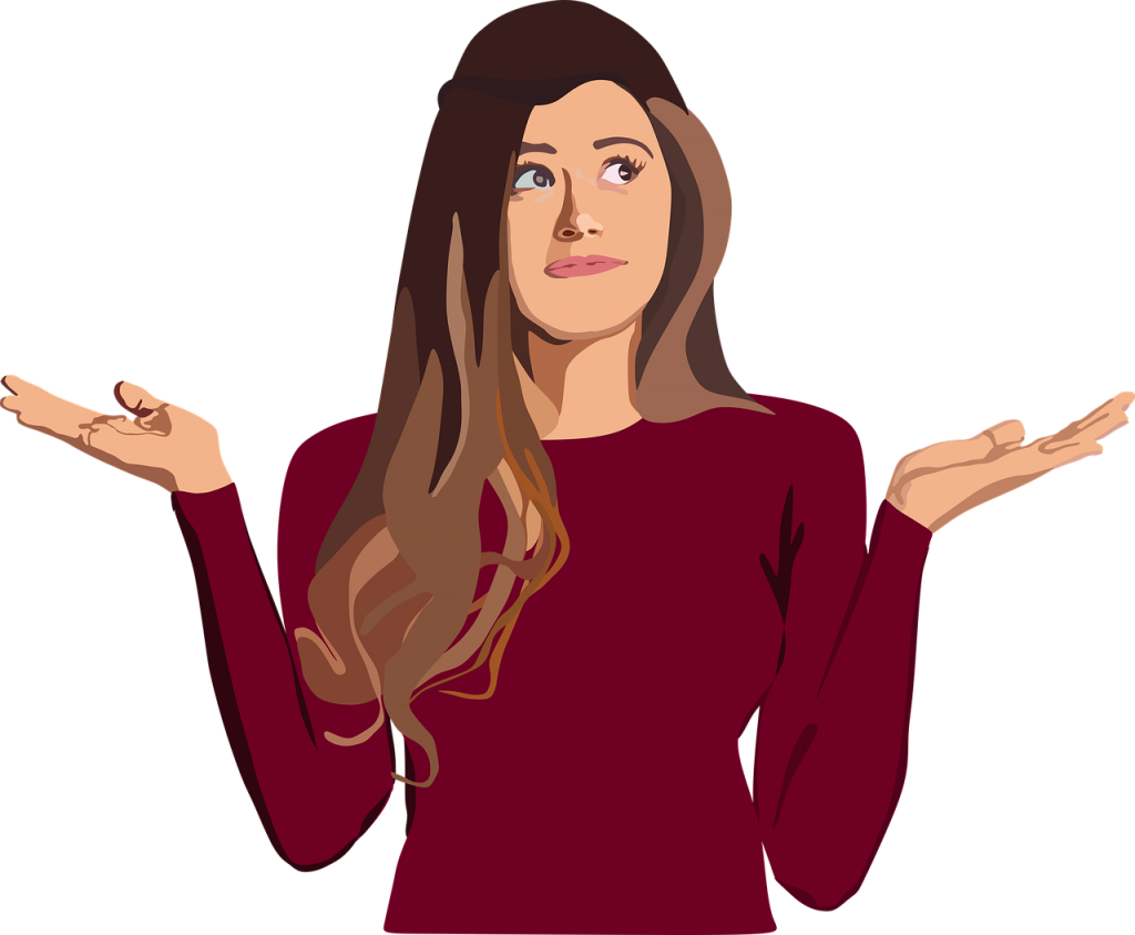 illustration of a woman with her hands up shrugging