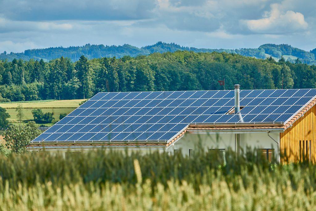 house roof full of solar panels