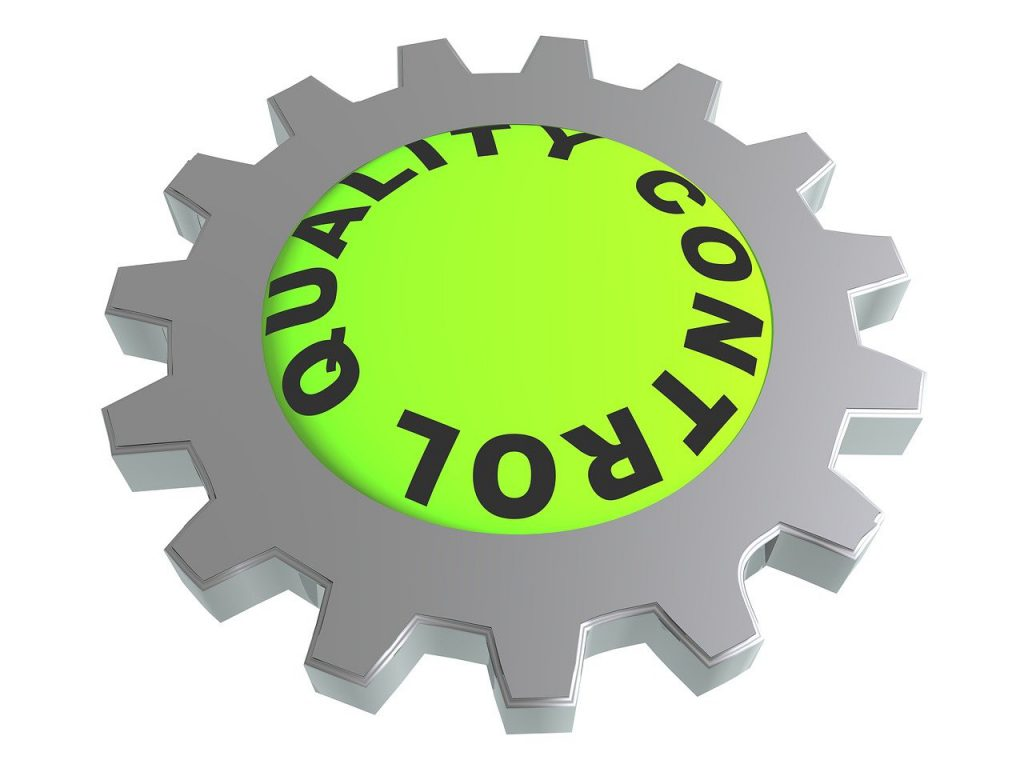 quality control written in a circular gear