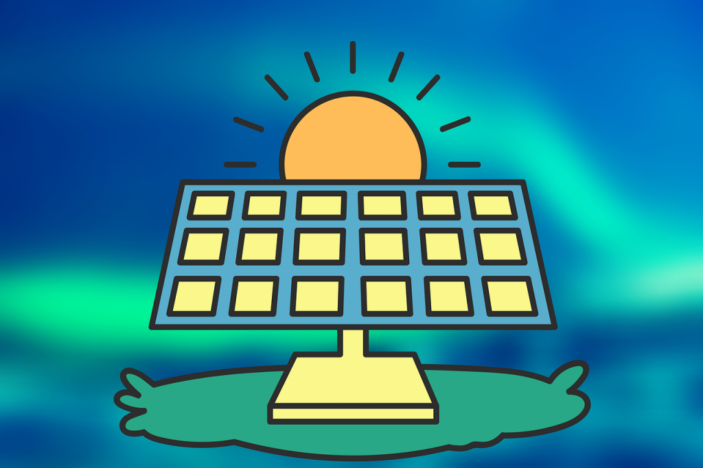 illustration of a solar panel with the sun behind it