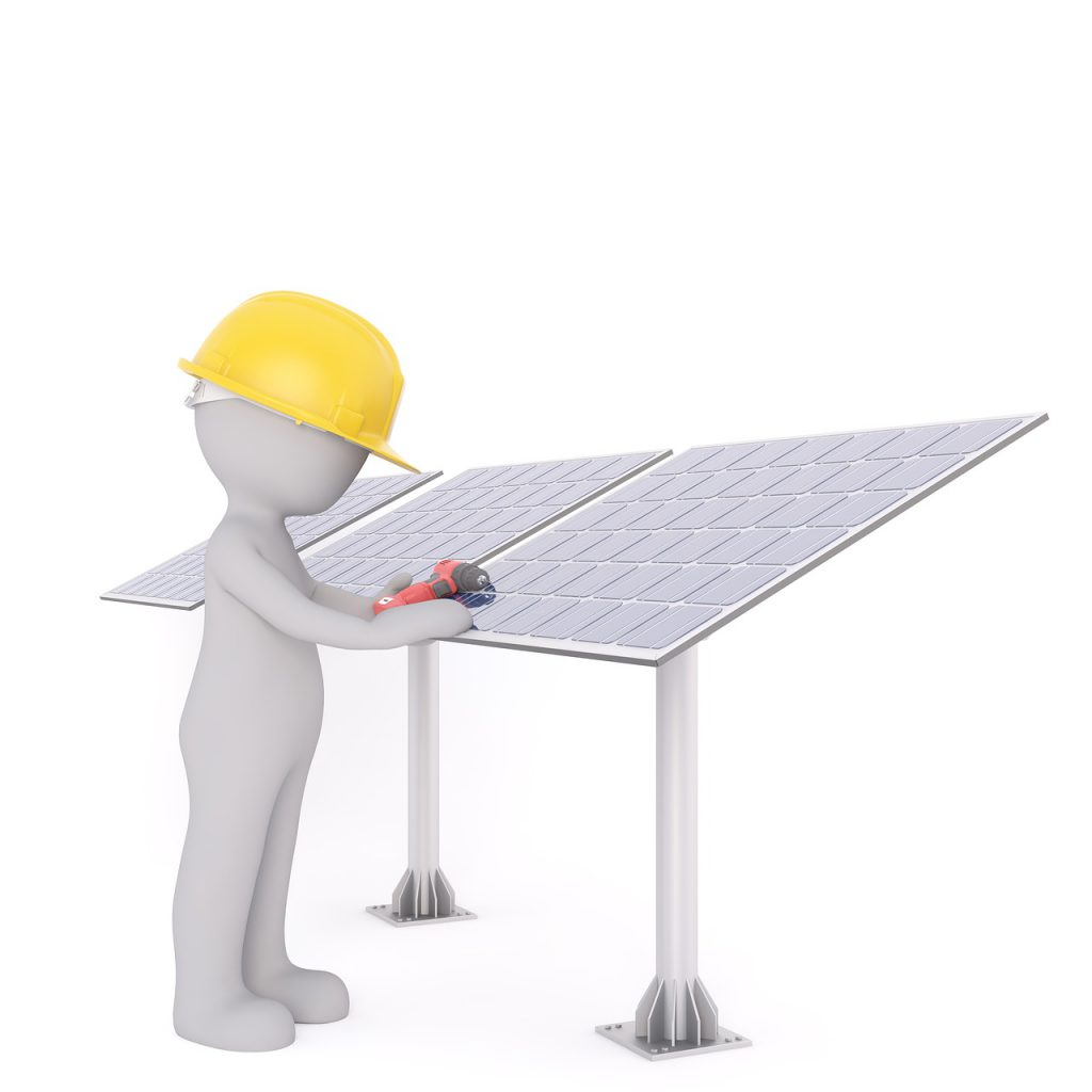 illustration of a person with a yellow hard hat on working on a solar panel